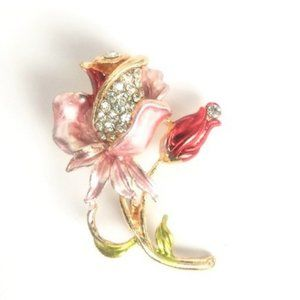 NWOT Pink Flower Brooch Crystal Accents Iris Lily